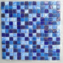 중국 공장 20X20mm 수영장 및 바닥 벽 타일 블루 컬러 골든 라인 핫 멜트 유리 모자이크 타일