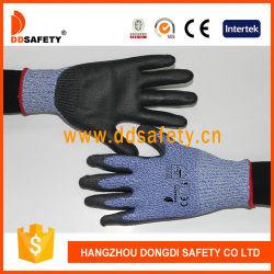 De hete Verkoop Anticut bedekte Zwart Pu op Handschoenen van de Veiligheid van de Palm de Werkende met een laag
