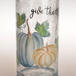 New Design Cylinder Crackle Handgemalte Kürbis Glasvase für Dekoration Für Zuhause