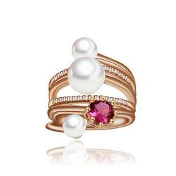 立方ジルコンの金張りのリングの真珠のリングの方法宝石類