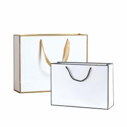 작은 소매 부티크 럭셔리 마분지 아트 선물 쇼핑 종이 가방 리본 핸들 사용