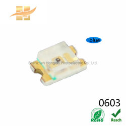 Amostra grátis SMD 0603 Blue Full Spectrum 5mA 28-145mcd Mini LED SMD Chip