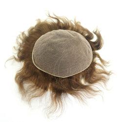 Todos os Lace base marrom claro Cor Real humano cabelo toupee Tamanho 7X9 polegadas densidade da luz 110% 4-6 polegadas comprimento do cabelo Homens toupe Hairpiece Hair Systems Tupee