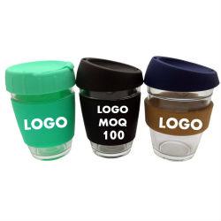 Logotipo personalizado Blx 12oz 8 oz de vidro à prova de vazamento de Viagens manter a xícara de café reutilizáveis Re utilizáveis caneca com tampa de luva de cortiça de Silicone por grosso