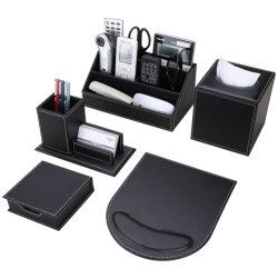カスタム黒い机一定の革項目オフィスのデスクトップの文房具セット