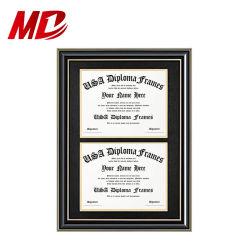 Dokumenten-/Foto-hölzerner Rahmen für zwei Certificates&Diploma 8.5X11 Zoll mit Matte und Zoll 13.5X20 ohne Matte
