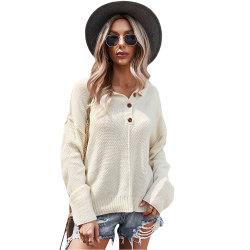 OEM maglia manica lunga manica beige personalizzata donna Pullover pullover