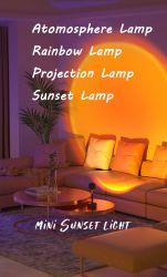 선셋 램프 프로젝터 레인보우 플로어 LED 나이트 라이트 미스룸 실내 장식의 화려한 조명 벽 장식 선셋 프로젝션 램프 커피숍의 배경