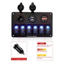 6 Gruppe-Wippenschalter-Panel-Sicherung-Panels imprägniern Digital-Voltmeter-Bildschirmanzeige Doppel-USB-Aufladeeinheits-Kanal für Auto-Boot und mehr