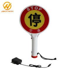 Высокая яркость переносной фонарь дорожного движения рукой удерживать индикатор медленно знак остановки безопасности дорожного движения мигать светодиод горит сигнальная лампа