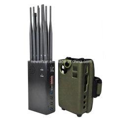 Las antenas de alta potencia 10 Portable 2G/3G/4G/5G Mobile Phone Jammer señal wifi GPS Lojack 315/433/868MHz el bloqueador de la señal de RF 7watt atascos de hasta 20 m