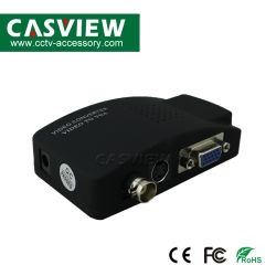 Convertidor de vídeo VGA a BNC Entrada S-Video compuesto de BNC Adaptador VGA PC al televisor portátil TV Box vídeo Convertidor Adaptador VGA Color negro con alimentación 5V
