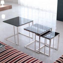 Комплект из 3 ПК черный окрашенный закаленное стекло журнальный столик с рамой из нержавеющей стали