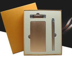 Cadeau d'affaires en or de la Banque d'alimentation mobile Téléphone mobile U disque Flash de marchandises à double usage Pen chargeur cadeau en trois pièces Logo personnalisé