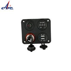 Interruptor oscilante de suporte do isqueiro Medidor de Tensão dupla tomada USB