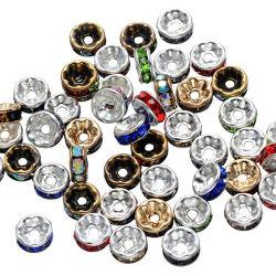 Дешево купить Rhinestone Crystal серебряный позолоченный Rondelle свободно проставку валика