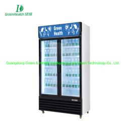Vert-noir de la santé de deux porte en verre de pivotement en position verticale d'un réfrigérateur