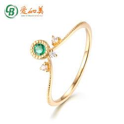 Gioielli di moda Gemstone sottile anello oro impilabile natura anello smeraldo