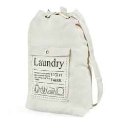 耐久性に優れたホワイトの 8 オンスコットンひも付きランドリーバッグ(ホテル用