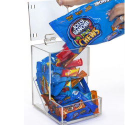 Alimentos secos a granel em acrílico transparente para exibir Bin Perspex dispensador de doces