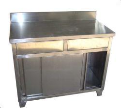 Нержавеющая Сталь Кухонный Стол с Двумя Ящиками и Обратно Всплеск
