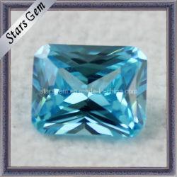 Aqua Blue Princess Cut sintetico CZ Gemstone