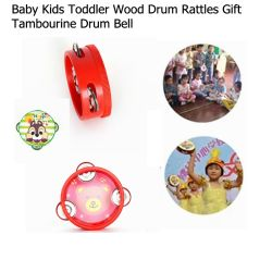 Wooden Baby Toddler Cartoon Tambourine Hand Drum Bell Musical Toy