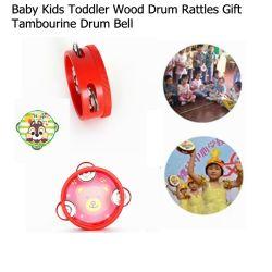Juguete de madera del Musical de Bell del tambor de la mano de la pandereta de la historieta del niño del bebé