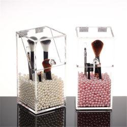 Kundenspezifischer freier Acrylverfassungs-Pinsel-Halter-kosmetischer staubdichter Kasten mit eingehängter Kappe
