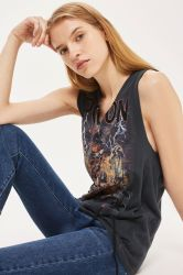 2017 Usine de vêtements en gros pour Rock Band col V Filles T Shirt sans manches