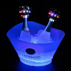 Grande capacité de lumière LED 12L en plastique jusqu'Ciroc seau à glace peut contenir jusqu'à 6 ou 7 bouteilles de vins de Champagne