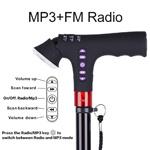 Intrekbare Wandelstok - met Lichten - MP3 - Radio - alarm-anti-Misstap - Slimme Wandelstok