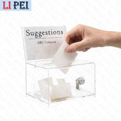 Commerce de gros Grand trépied de sol Transparent Boîte de collecte de dons de bienfaisance Bulletin de vote de l'acrylique Donation Box avec verrou et clé