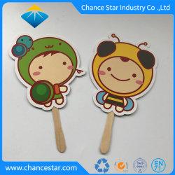 Mango de madera de impresión personalizados abanicos de papel para promoción