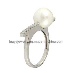 方法宝石類の女性のための簡単な925純銀製のダイヤモンドの宝石類のシェルの真珠のリング