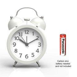 Работает от батареи хода часов, громко Двойной звонок будильника для детей (белый)