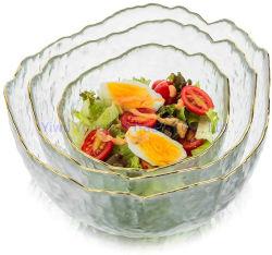 Transparente / Golden Rim todo propósito de servir Bowl Pyrex Prep tazones grandes para la ensalada de fruta merienda palomitas de maíz sopa de pasta de harina de avena ensalada tazón de vidrio de oscilación martillo