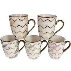 La promoción de la moda personalizada de cerámica Electroplated tazas taza de café oro plata Mármol de Rim para regalo Mug