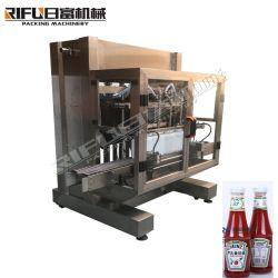 크림 풀 소스 또는 잼 또는 꿀 또는 액체 또는 세제 또는 샴푸 또는 기름 /Water/Beverage 병 자동적인 피스톤 채우는 캡핑 레테르를 붙이는 생산 라인 포장 기계