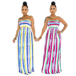 L51737 여름 성조기 인쇄된 straTiprinted straprinti없는 튜브 맥시 드레스