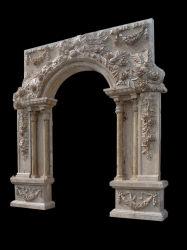 Arco de escultura de pedra ao redor da porta da estrutura da porta de pedra (DF317)