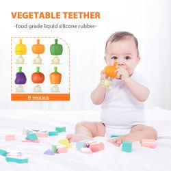 부드러운 실리콘 과일 야채 모양 펌킨 그린 피망 콘 토마토 가지 베이비 치아발육기 파쇄기