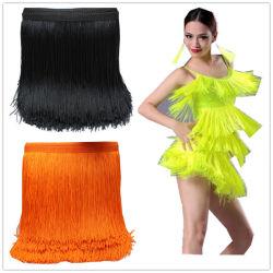 A largo flequillo Puntilla de encaje de cinta de poliéster Borla Guarnecido de coser América vestido vestido vestido de baile de la etapa de Samba Borla