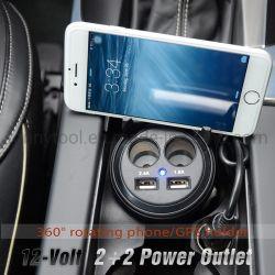 Auto-Aufladeeinheit, Zigaretten-Feuerzeug-Adapter mit 2-Socket Anschluss, Doppel-USB 5V 3.1A, Becherhalter, Digitalanzeigen-Bildschirm