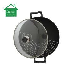 Voorgekruide gietijzeren wok met rek