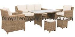 Ocio europeo de calidad muebles de mimbre mimbre sofá de jardín