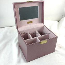 Случай Шикарной Пурпуровой Красотки Коробки Ювелирных Изделий Случая Кожи Индикации Косметический