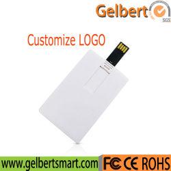 Logotipo personalizado Imprimir tarjeta de crédito blanco de 16GB de memoria Flash USB
