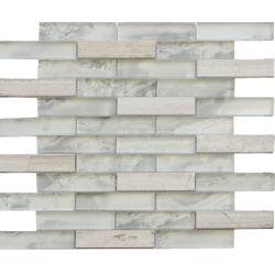 Innenwand Back-Plash weißes Glas und Mosaikstein