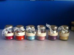 Cera De Parafina formula velas aromáticas en la jarra de cristal transparente con tapa de metal y madera decoración de flores